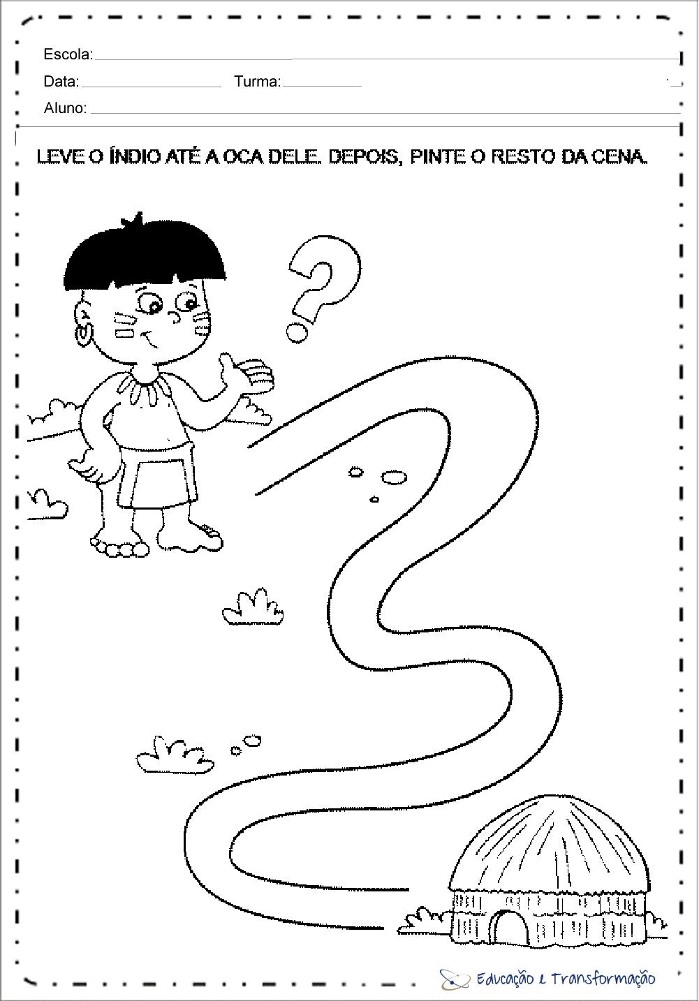 Atividades Dia do Índio para Educação Infantil para imprimir