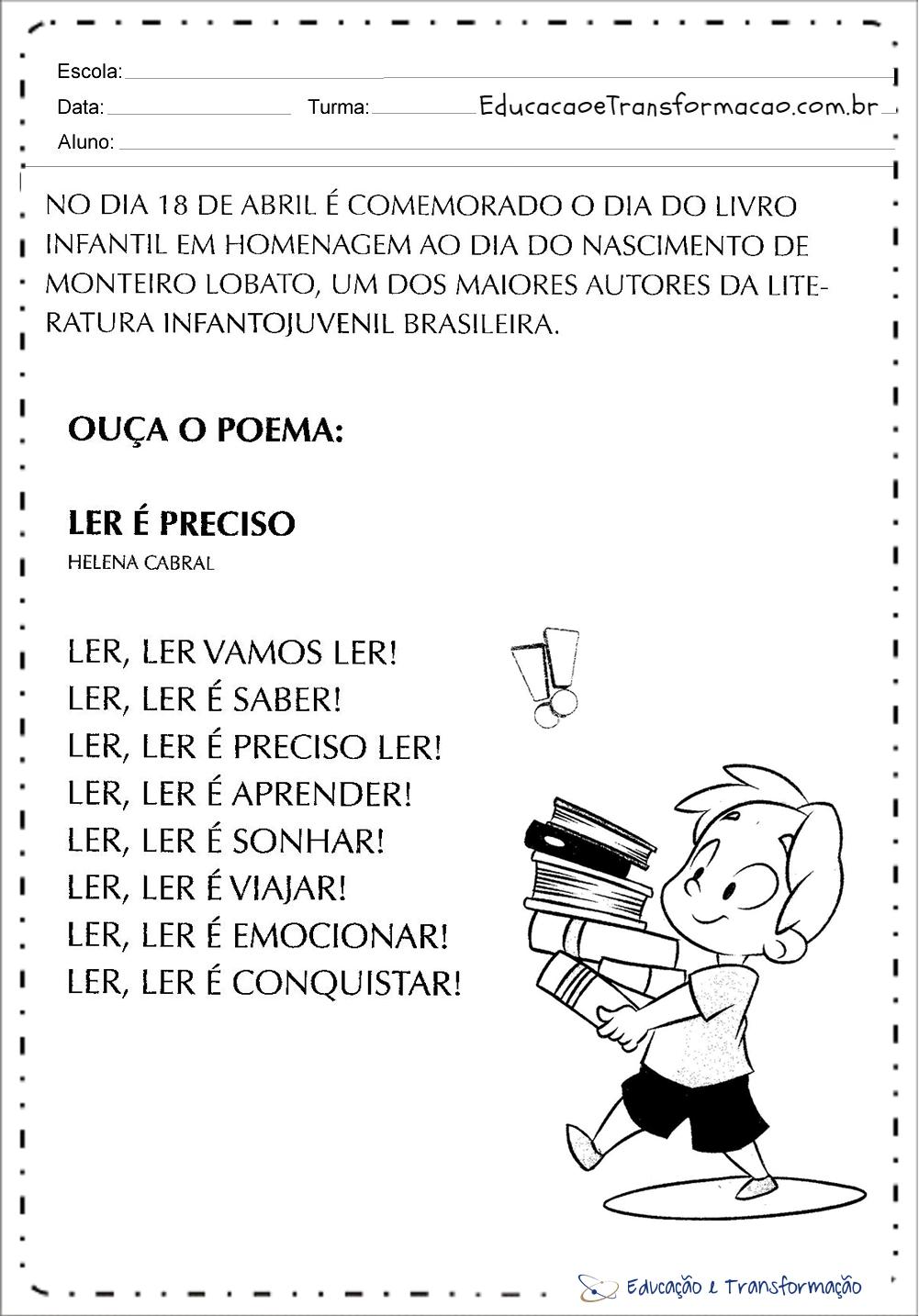 Atividades Dia do Livro Infantil para imprimir