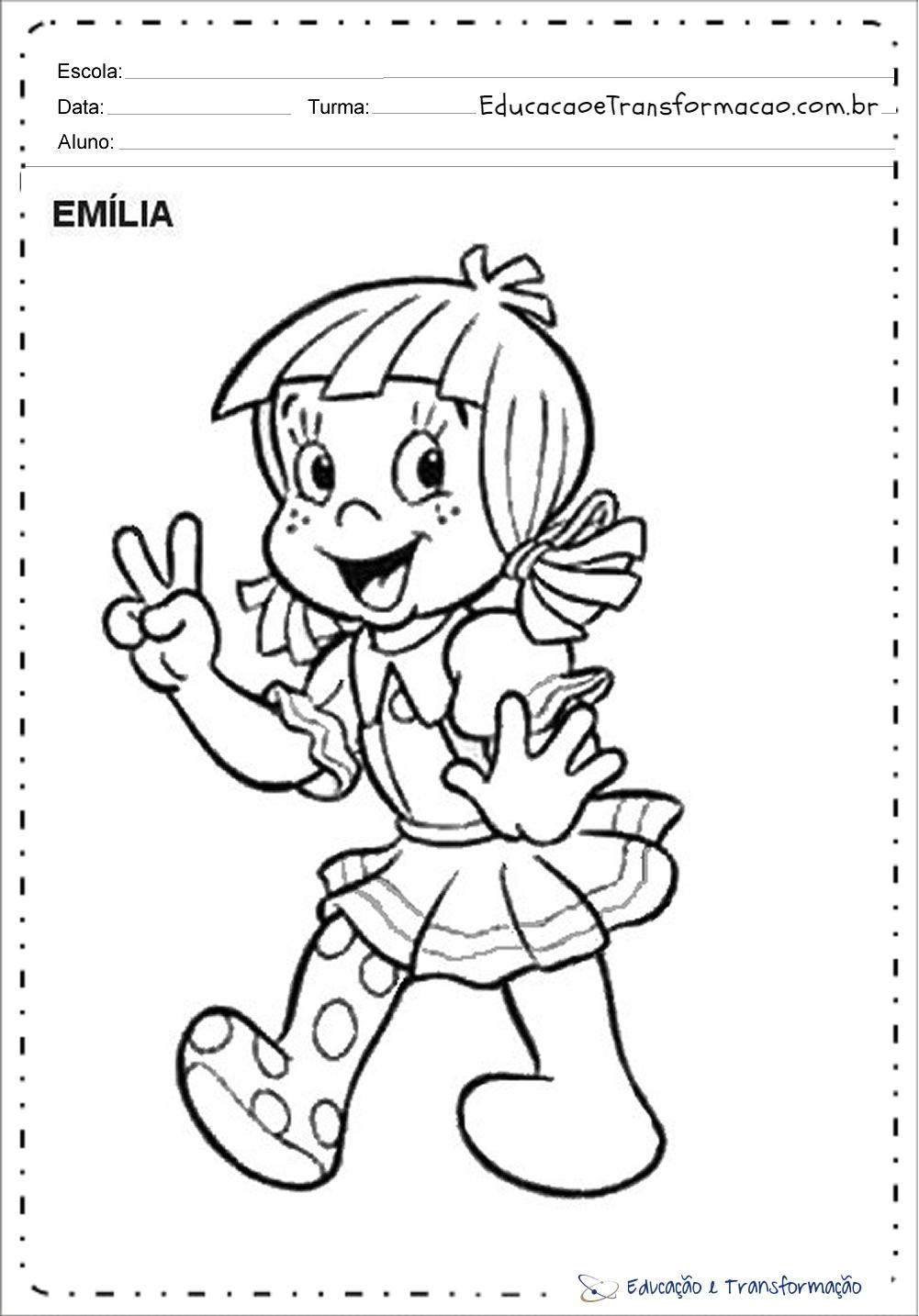 Atividades Dia do Monteiro Lobato para colorir – Emília