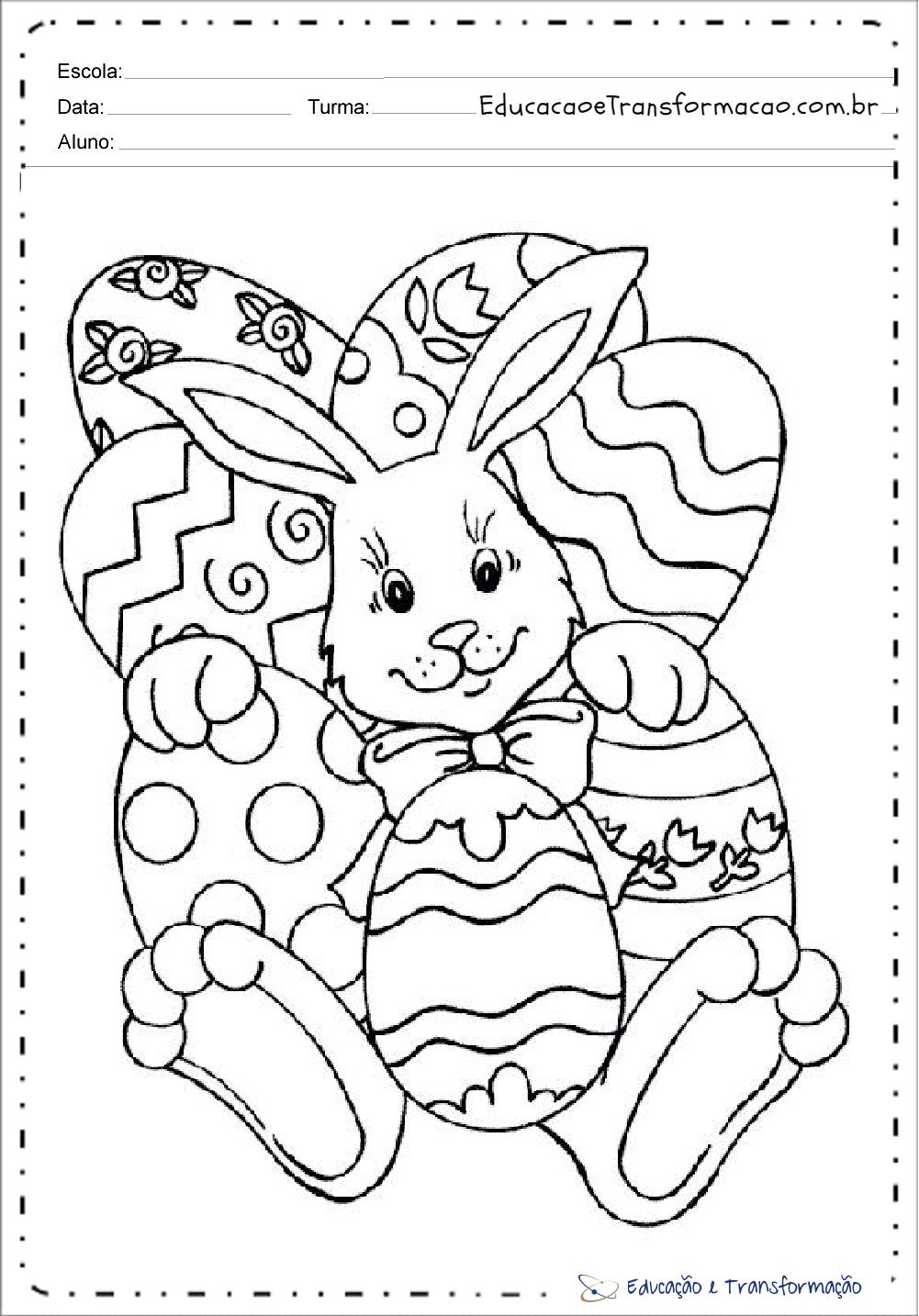 Desenhos para Páscoa para colorir – Coelho e ovos