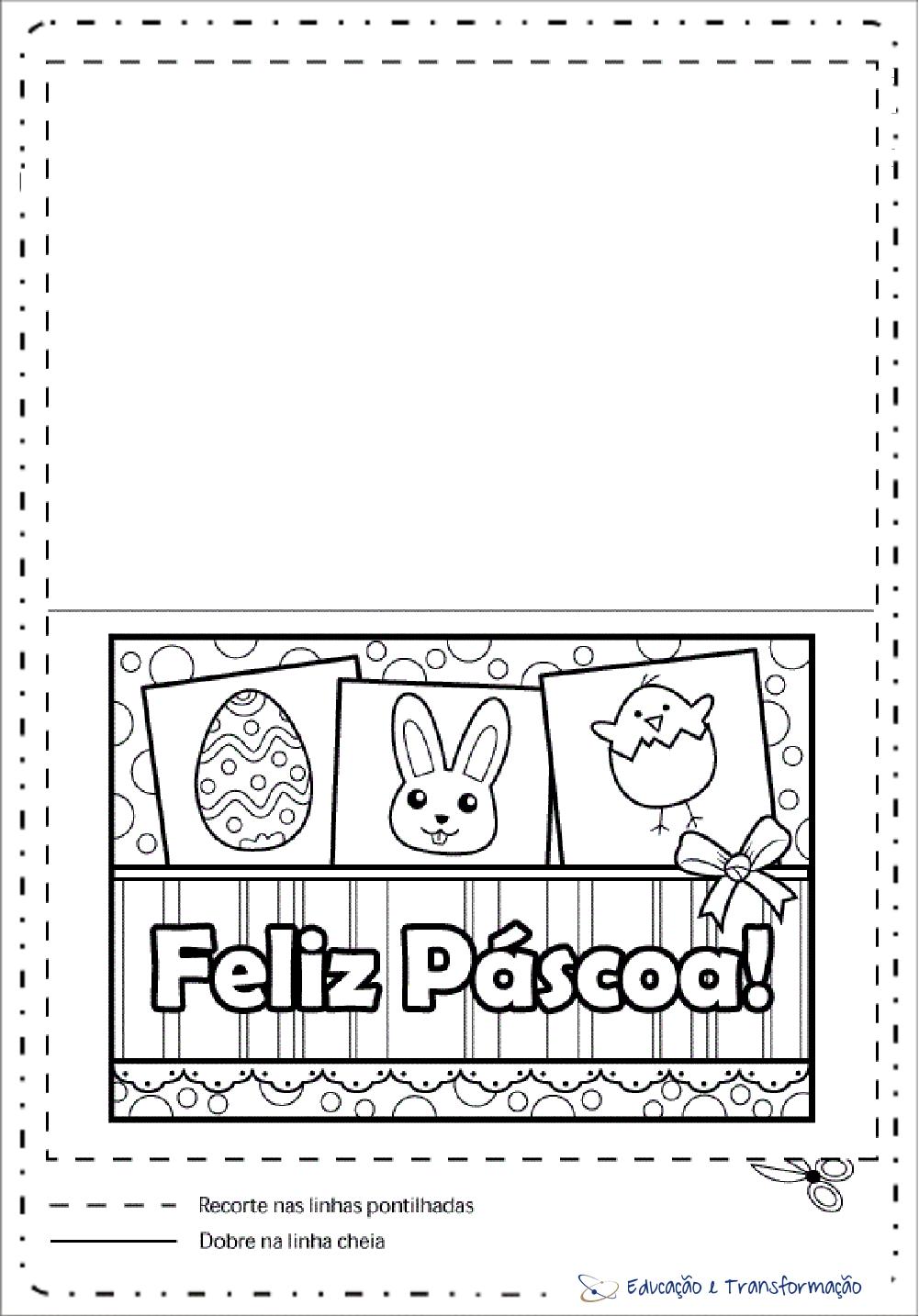 Cartao De Pascoa Para Imprimir E Colorir Cartoes De Pascoa Ilustrado