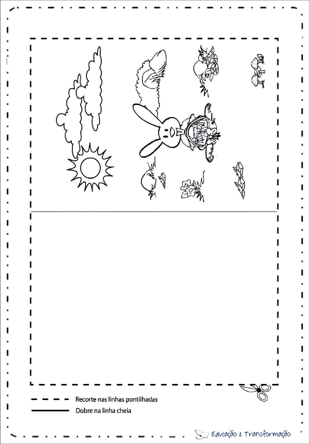 Cartão de Páscoa para imprimir e colorir