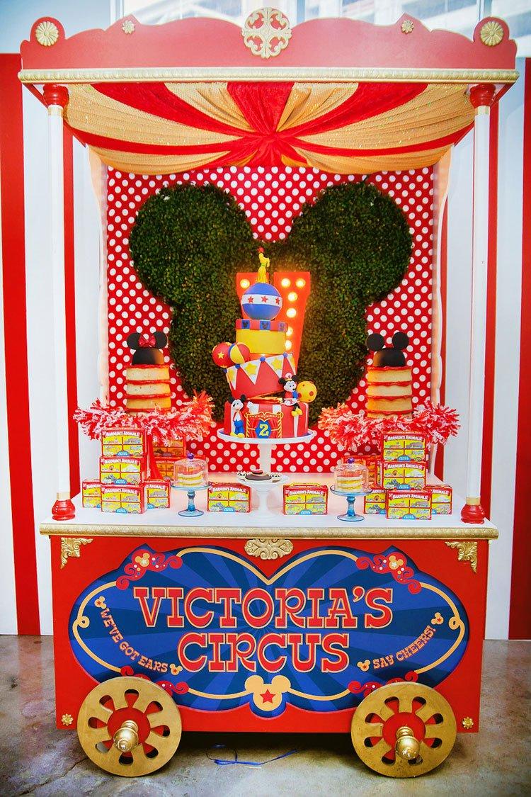 Decoração com tema circo do Mickey & Minnie.