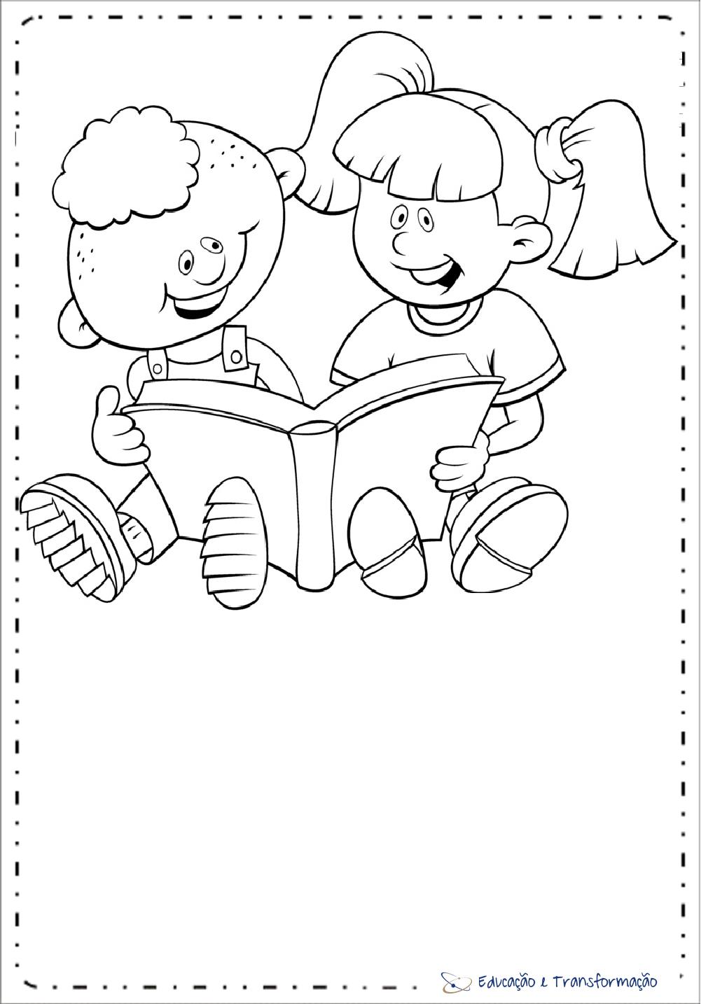 Desenhos para colorir – Menina e Menino Dia do Livro