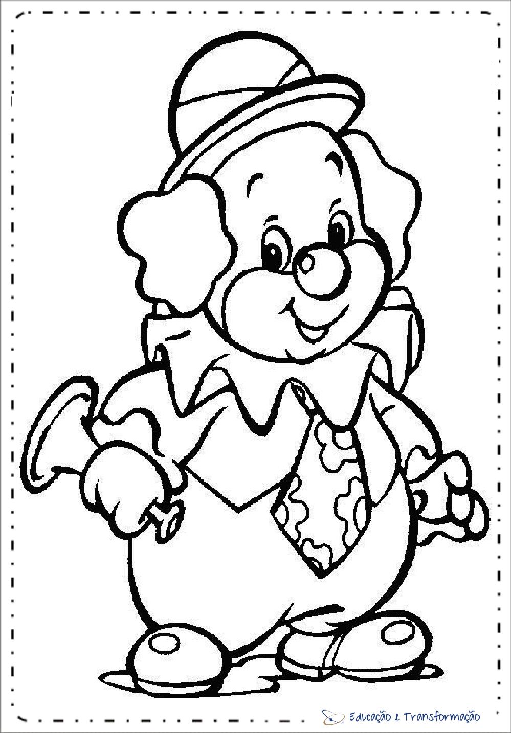 Atividades Dia do Circo para Educação Infantil - Desenhos de Palhaços para colorir