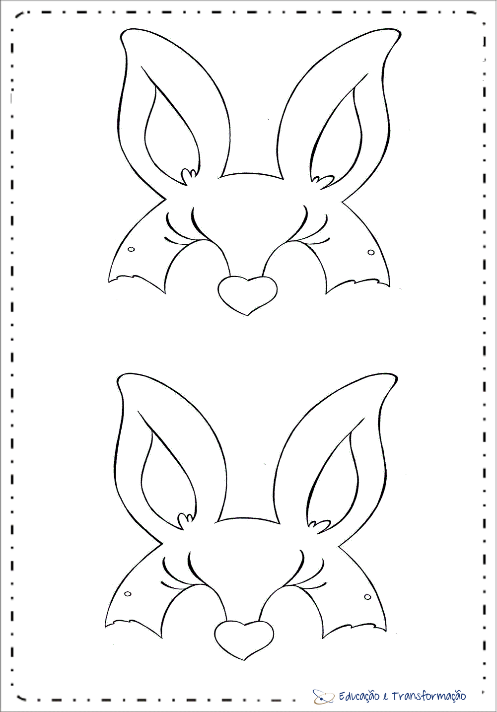 Máscaras de Coelhinho - Orelhas de Coelho para imprimir e colorir