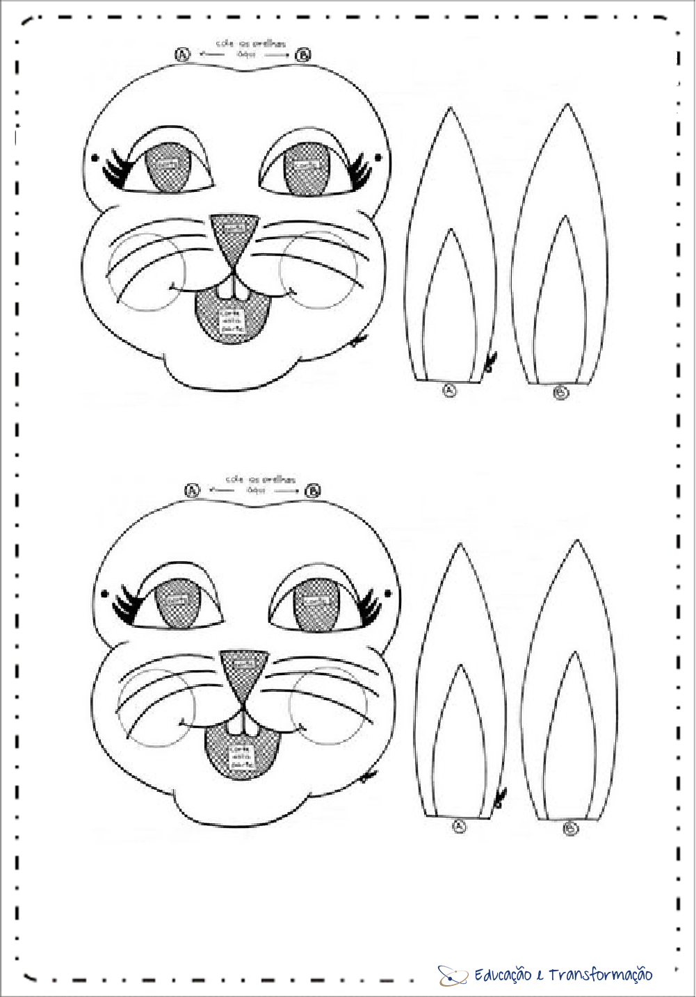 Máscaras de Páscoa e Orelhas de coelho para imprimir
