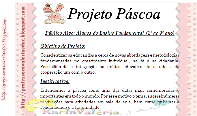 Projeto Páscoa para Ensino Fundamental para 1º a 9º ano