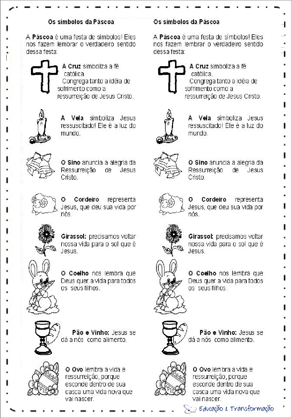 Símbolos da Páscoa para imprimir