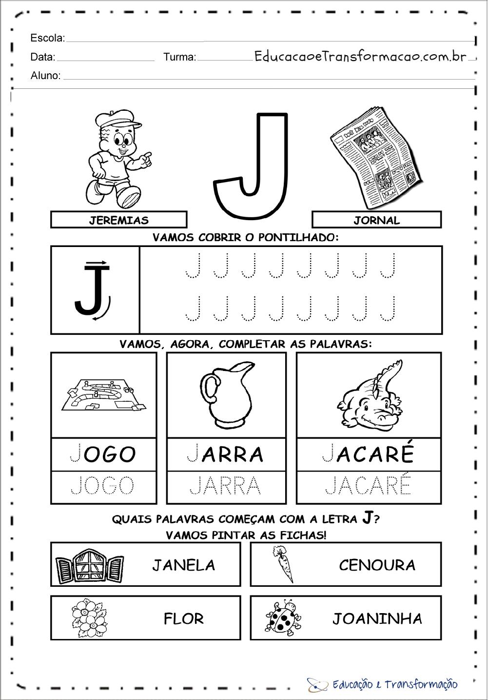 Favoritos Atividades com a letra J para Alfabetização - Atividades Ecucativas UH56