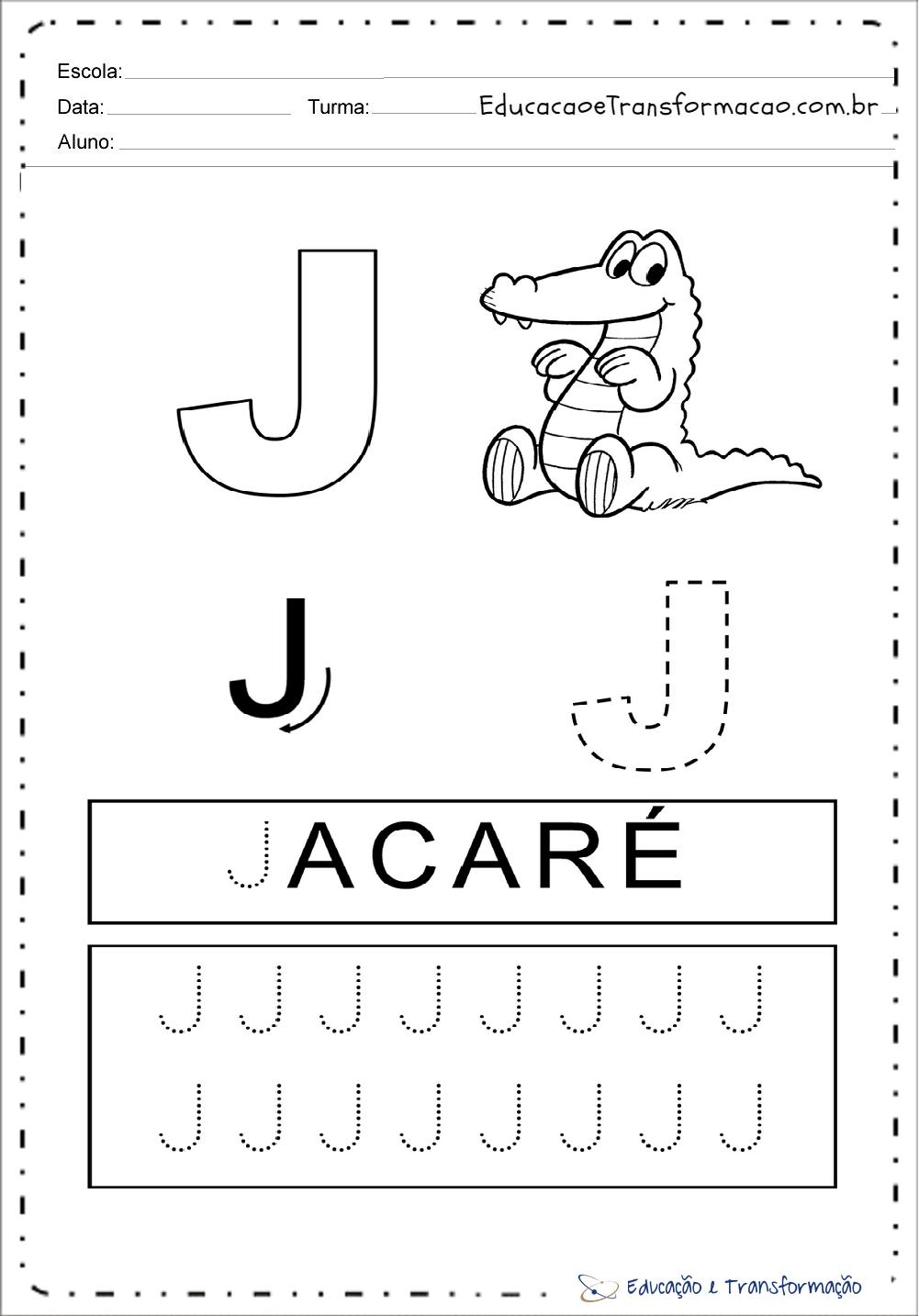 Excepcional Atividades com a letra J para Alfabetização - Atividades Ecucativas ZE19