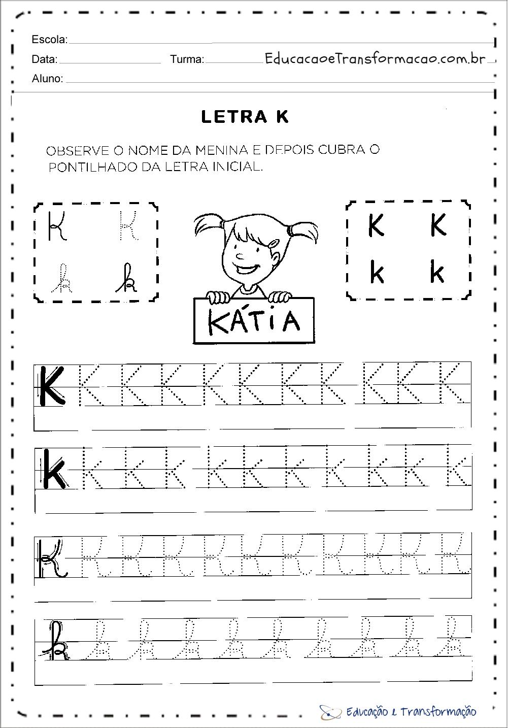 Atividades com a Letra K - Pontilhado (Tracejado)