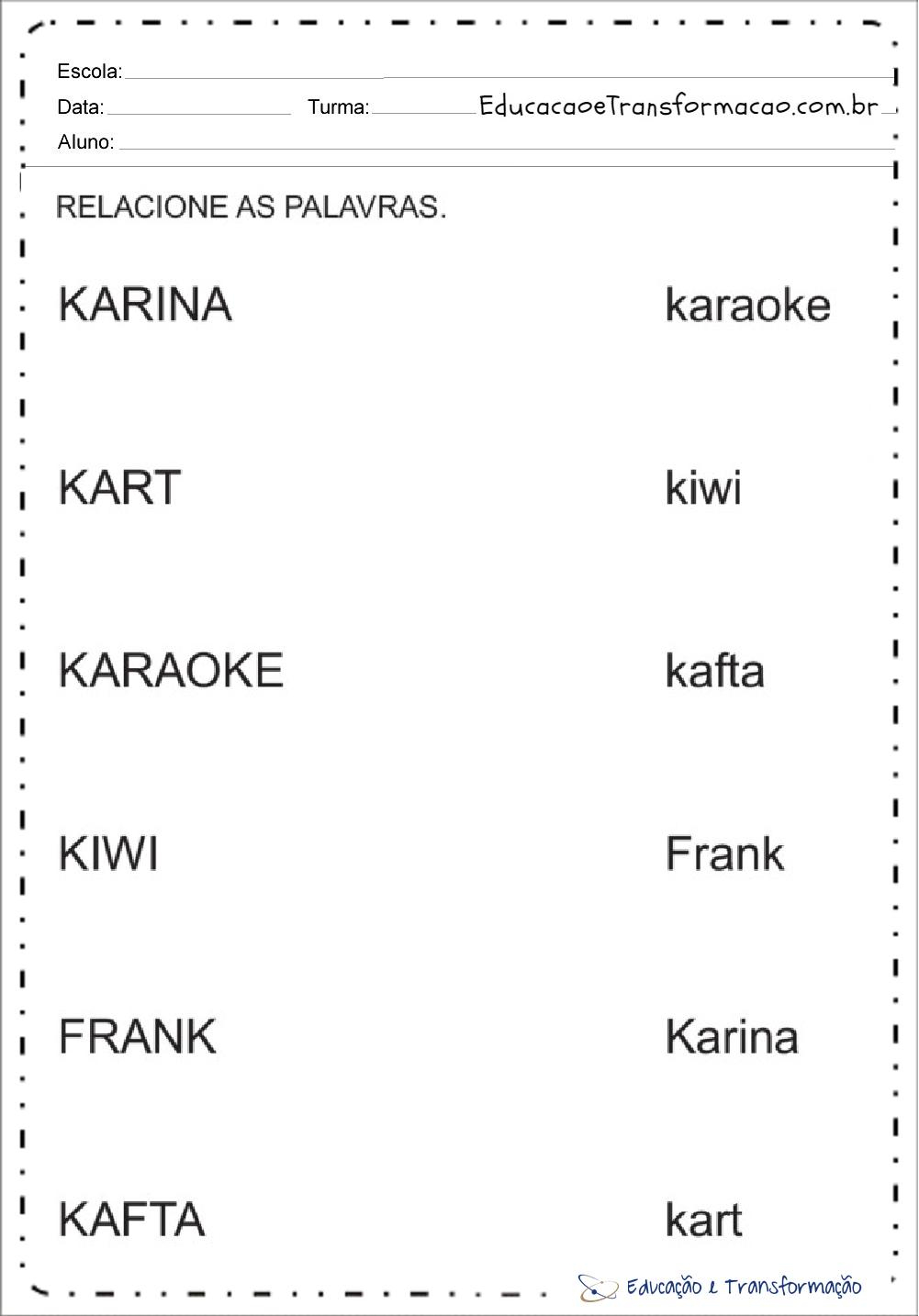 Atividades com a Letra K