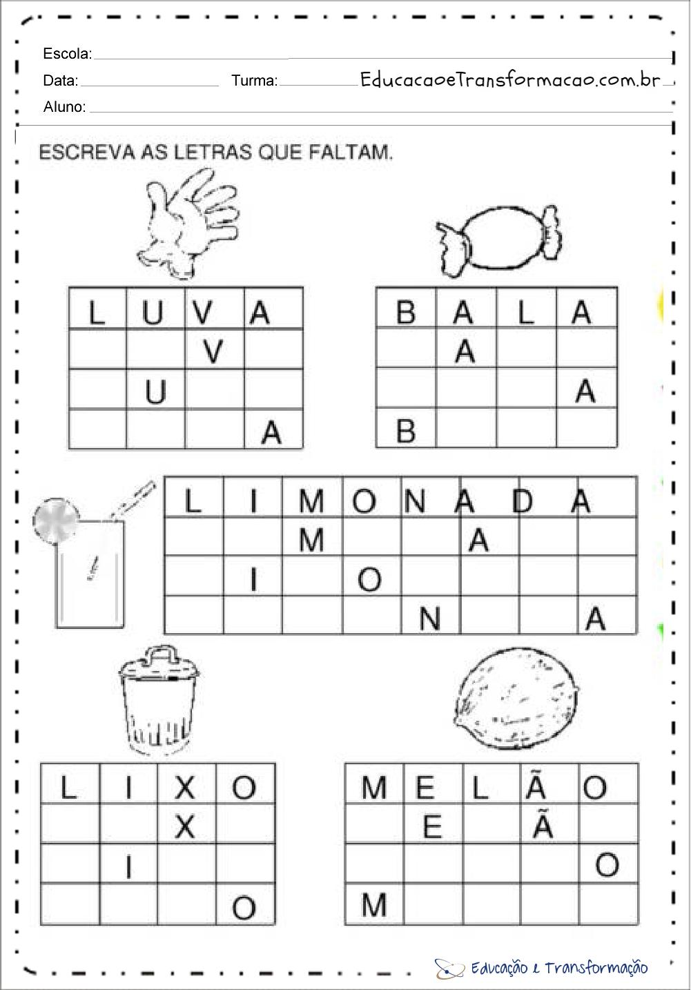 Atividades Com A Letra L Escreva As Letras Educacao E