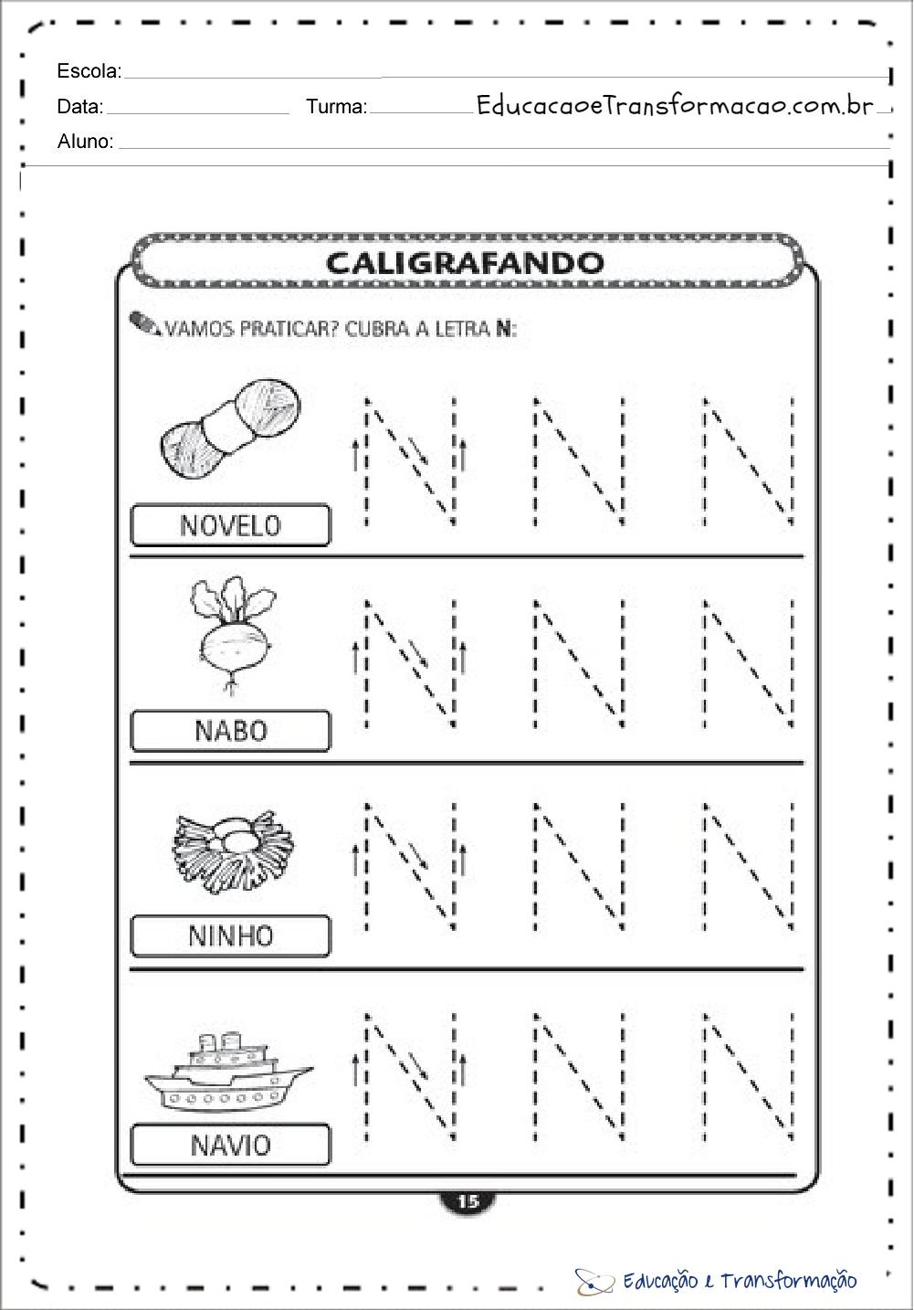 Atividades com a Letra N - Pontilhado (Tracejado)