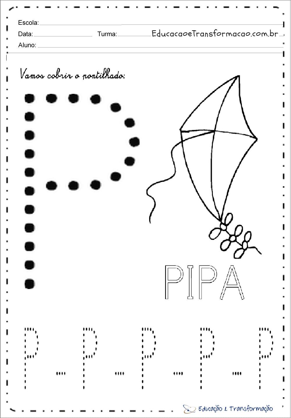 Atividades com a Letra P - Pontilhado (Tracejado)