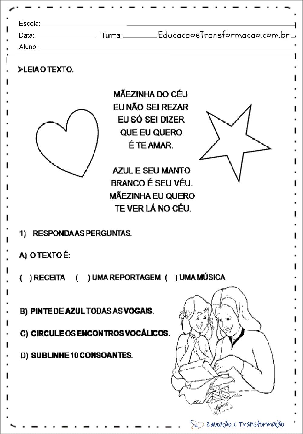 Atividades de Interpretação de Texto para Dia das Mães