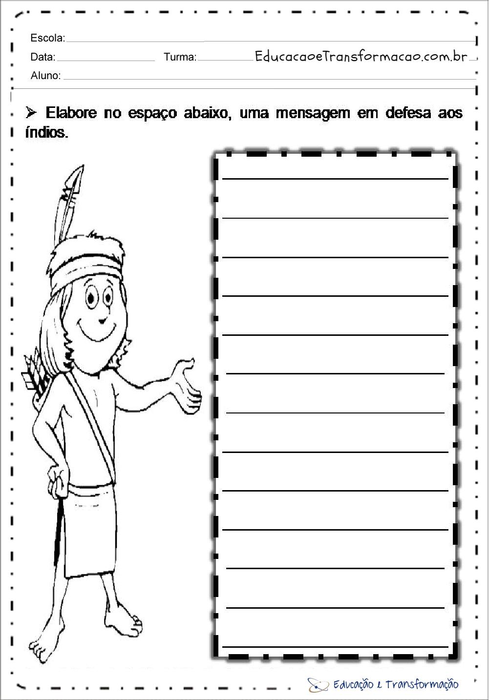 Atividades de Produção de Texto para Dia do Índio