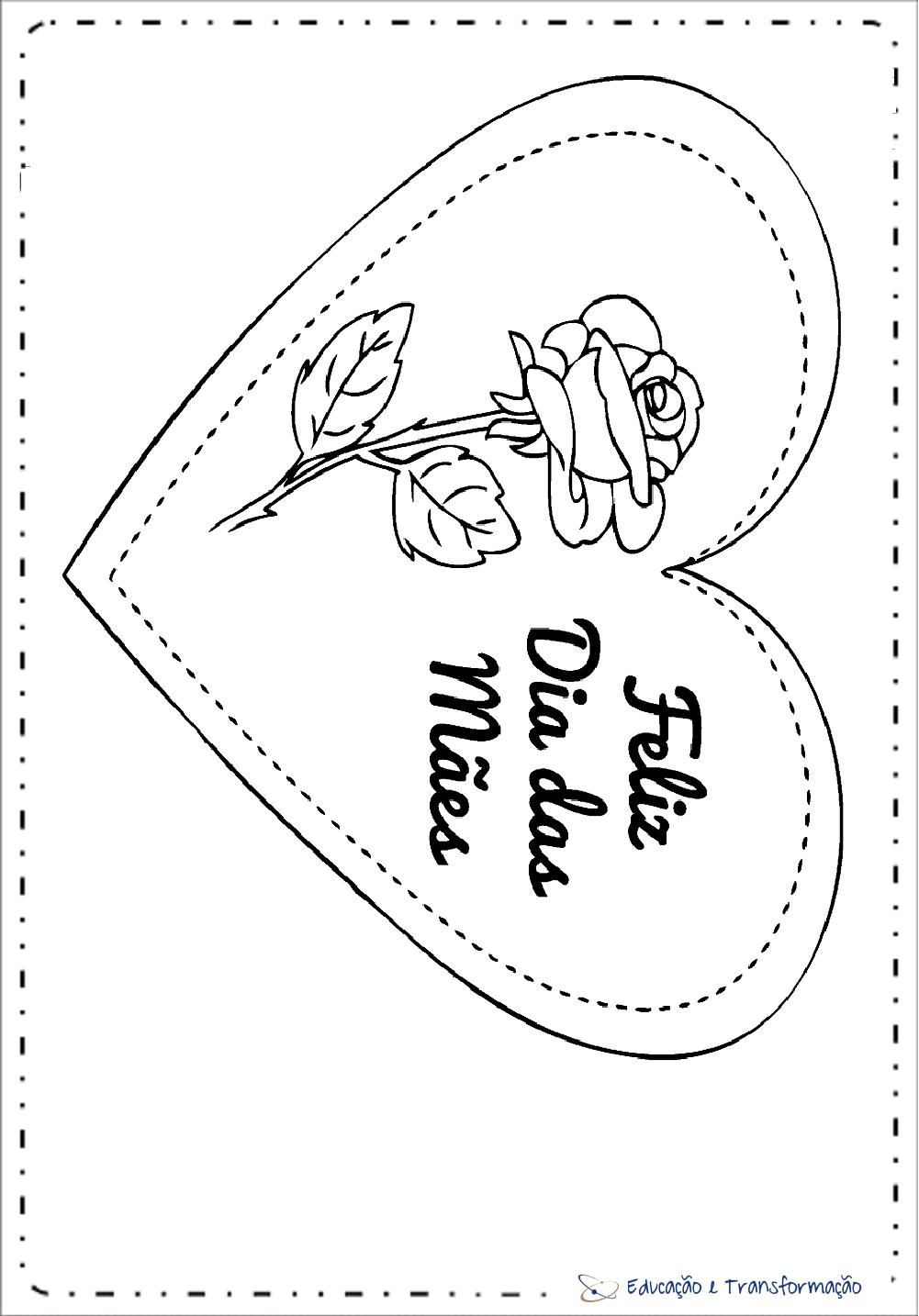 Cartão Dia das Mães para colorir – Coração com Flores