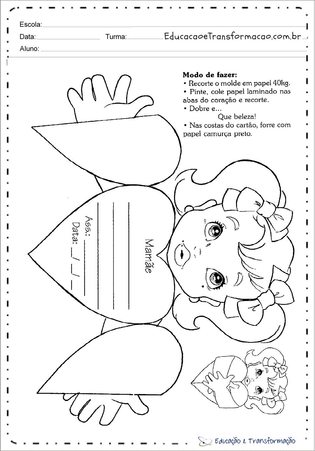 Cartão Dia das Mães para colorir