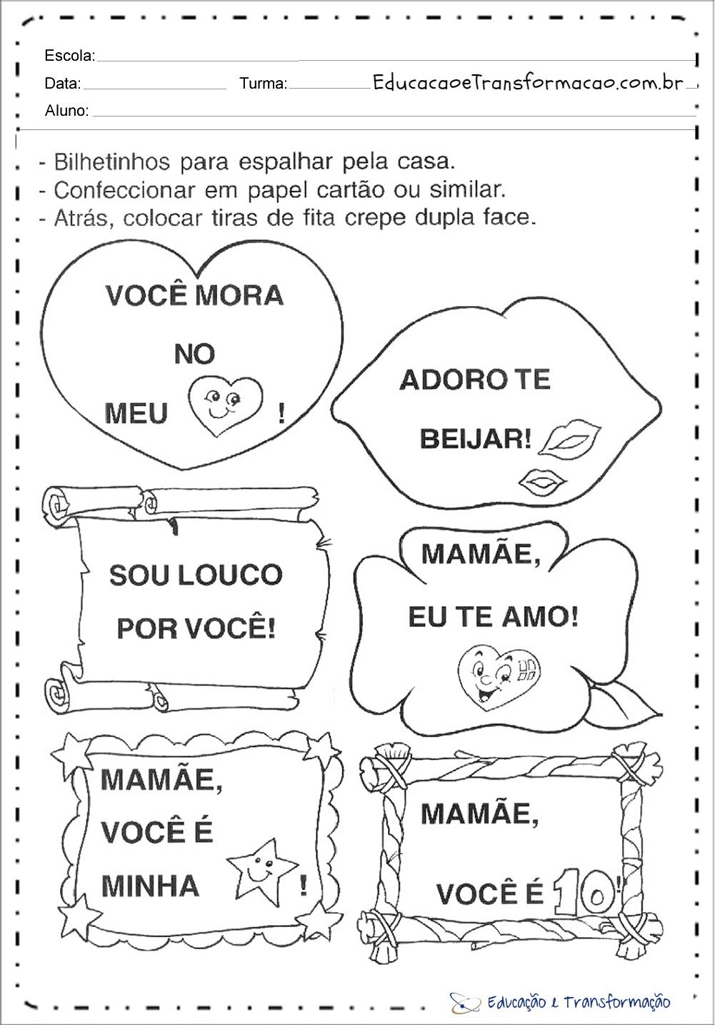 Atividades dia das Mães Educação Infantil