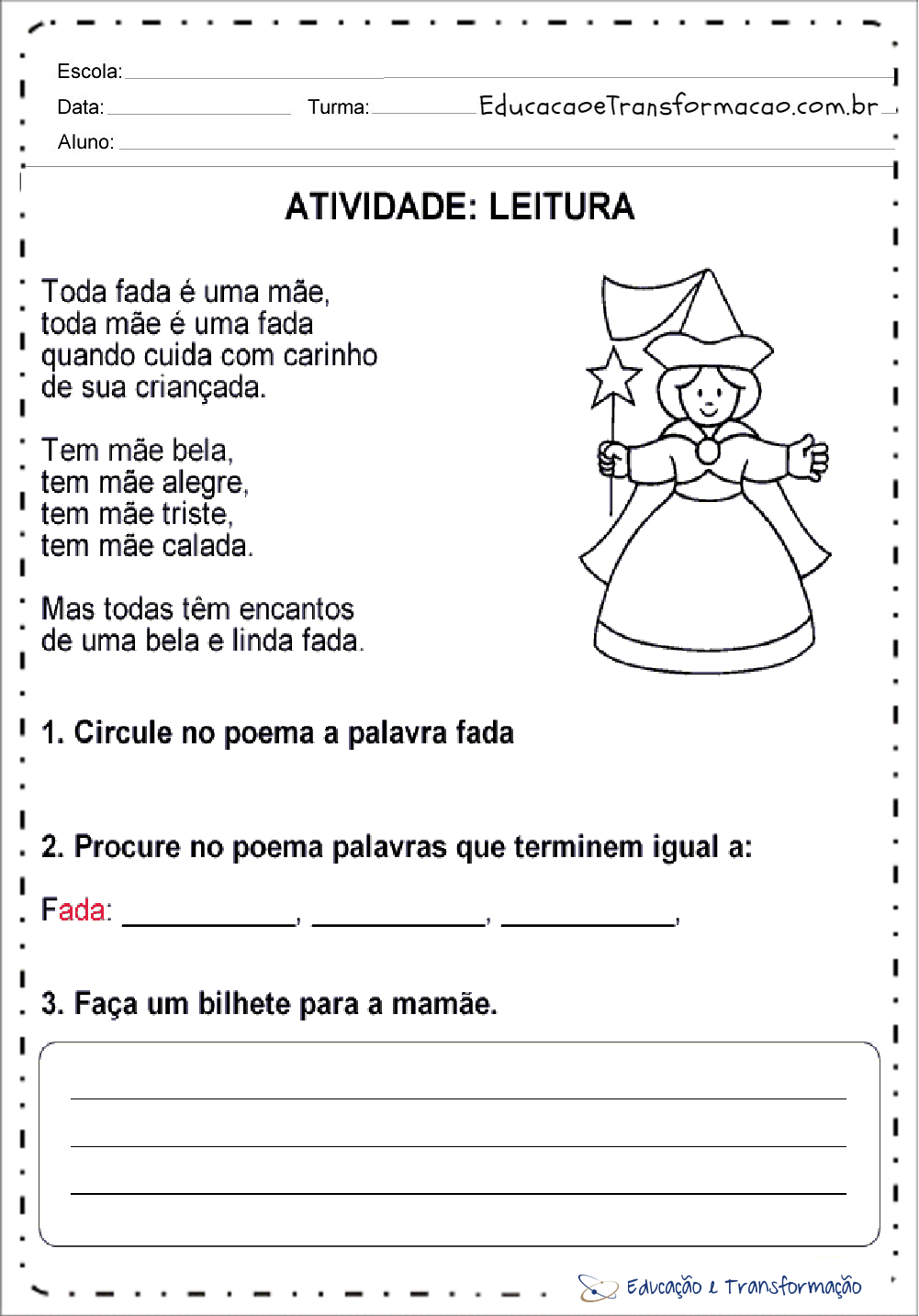 Atividades Dia das Mães Ensino Fundamental – Leitura e Compreensão