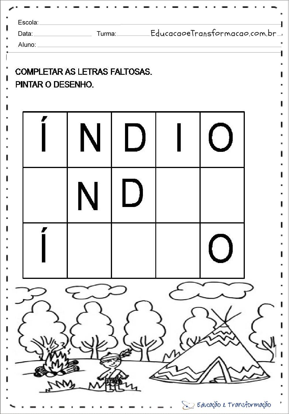 Atividades Dia do Índio para Ensino Fundamental