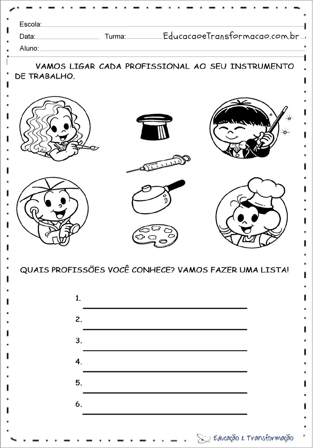 Atividades Sobre Profissões Para Educação Infantil Para Imprimir