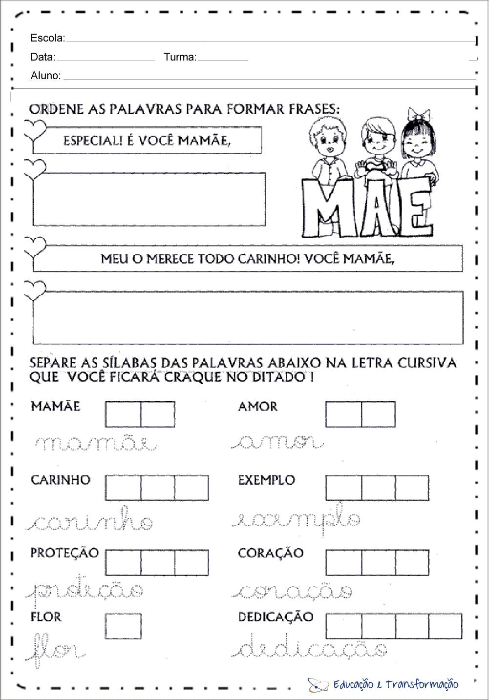 Atividades Dia Das Mães Ensino Fundamental Para Imprimir