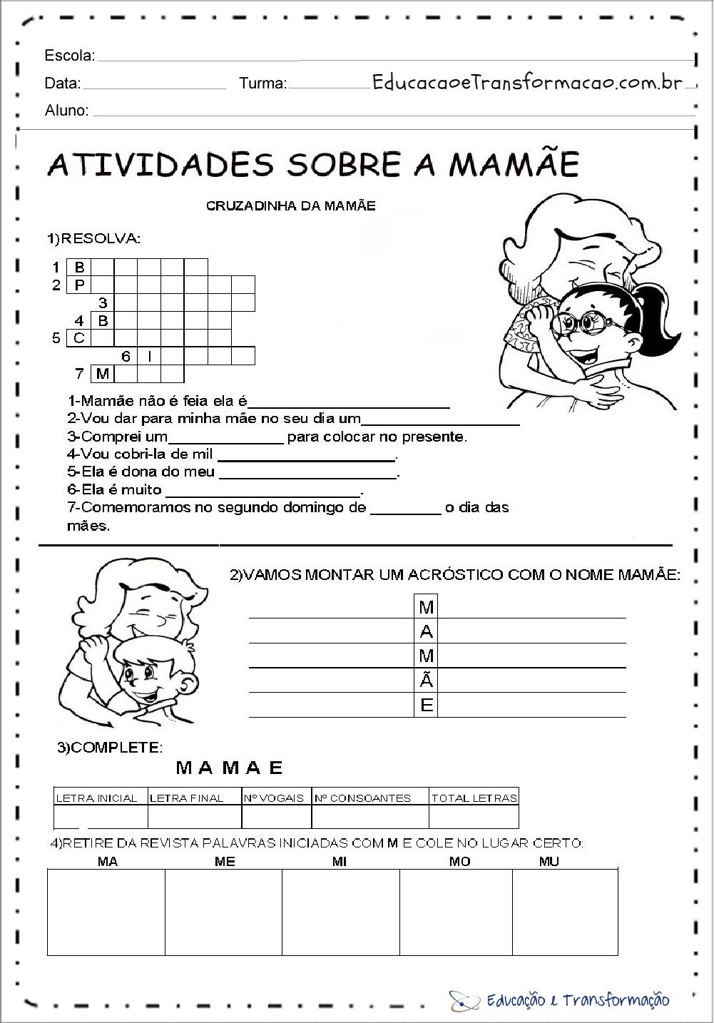 Atividades sobre o dia das mães para imprimir