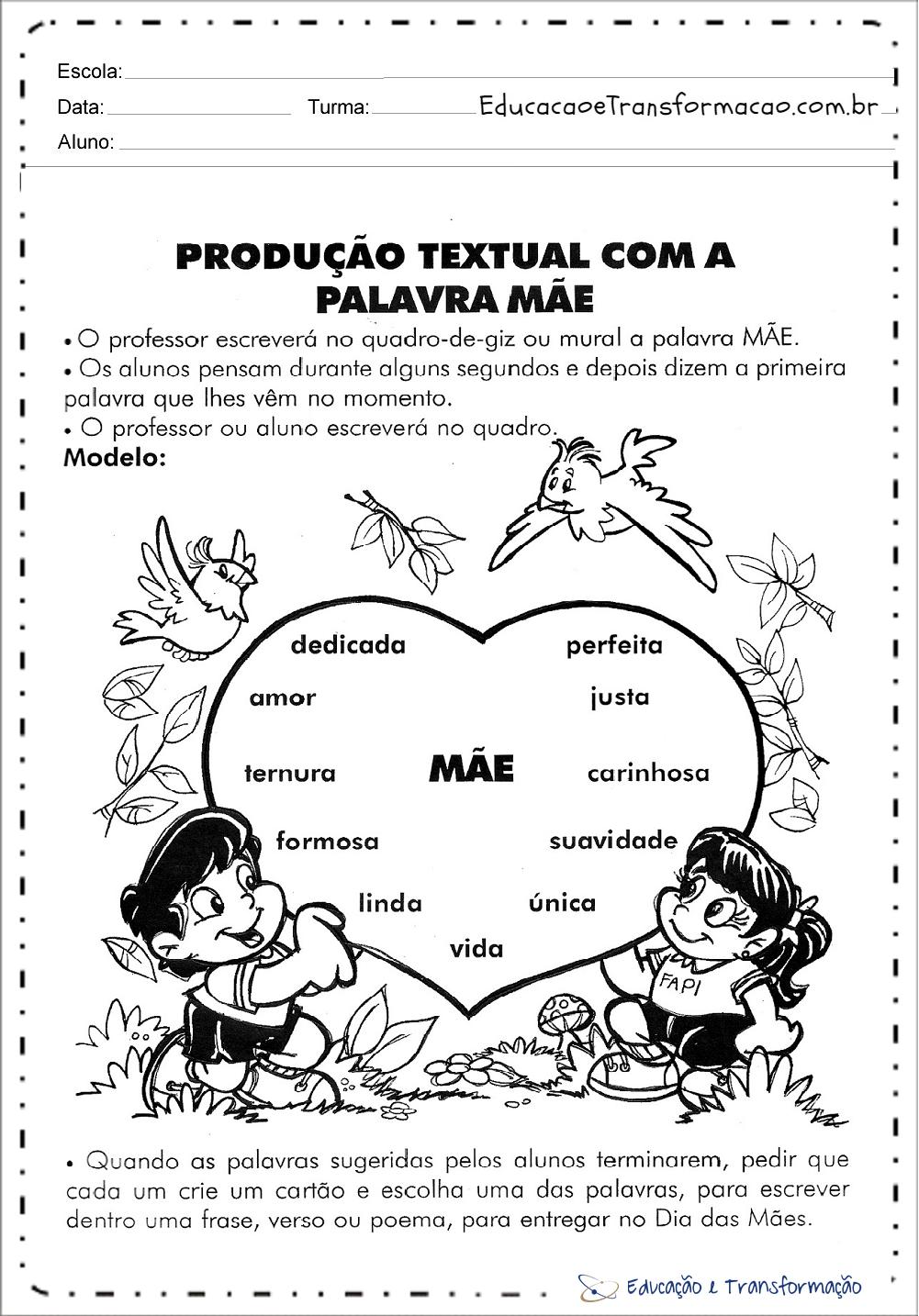 Atividades Sobre O Dia Das Maes Producao Textual Educacao E