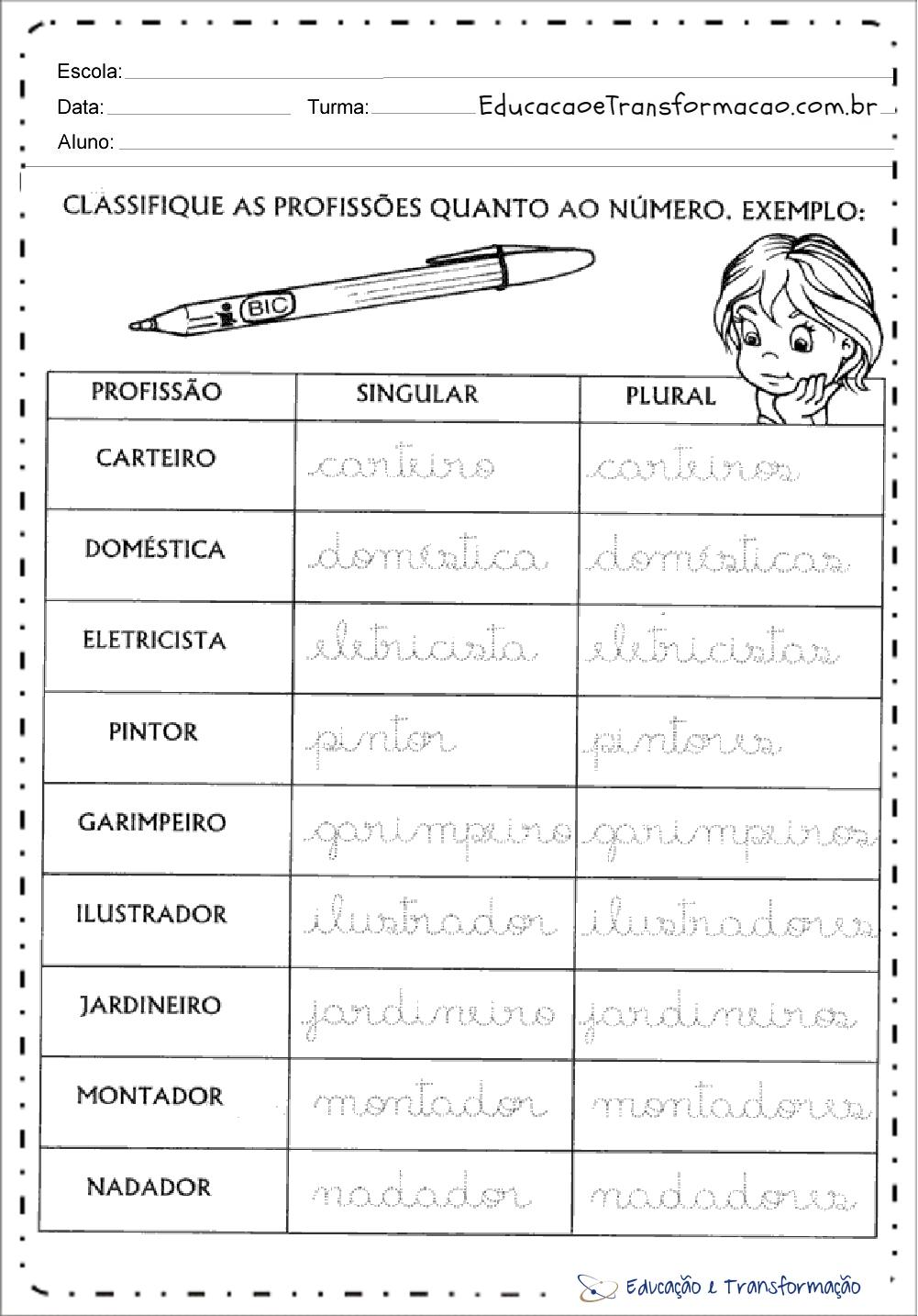 Atividades sobre profissões para Educação Infantil – Classifique
