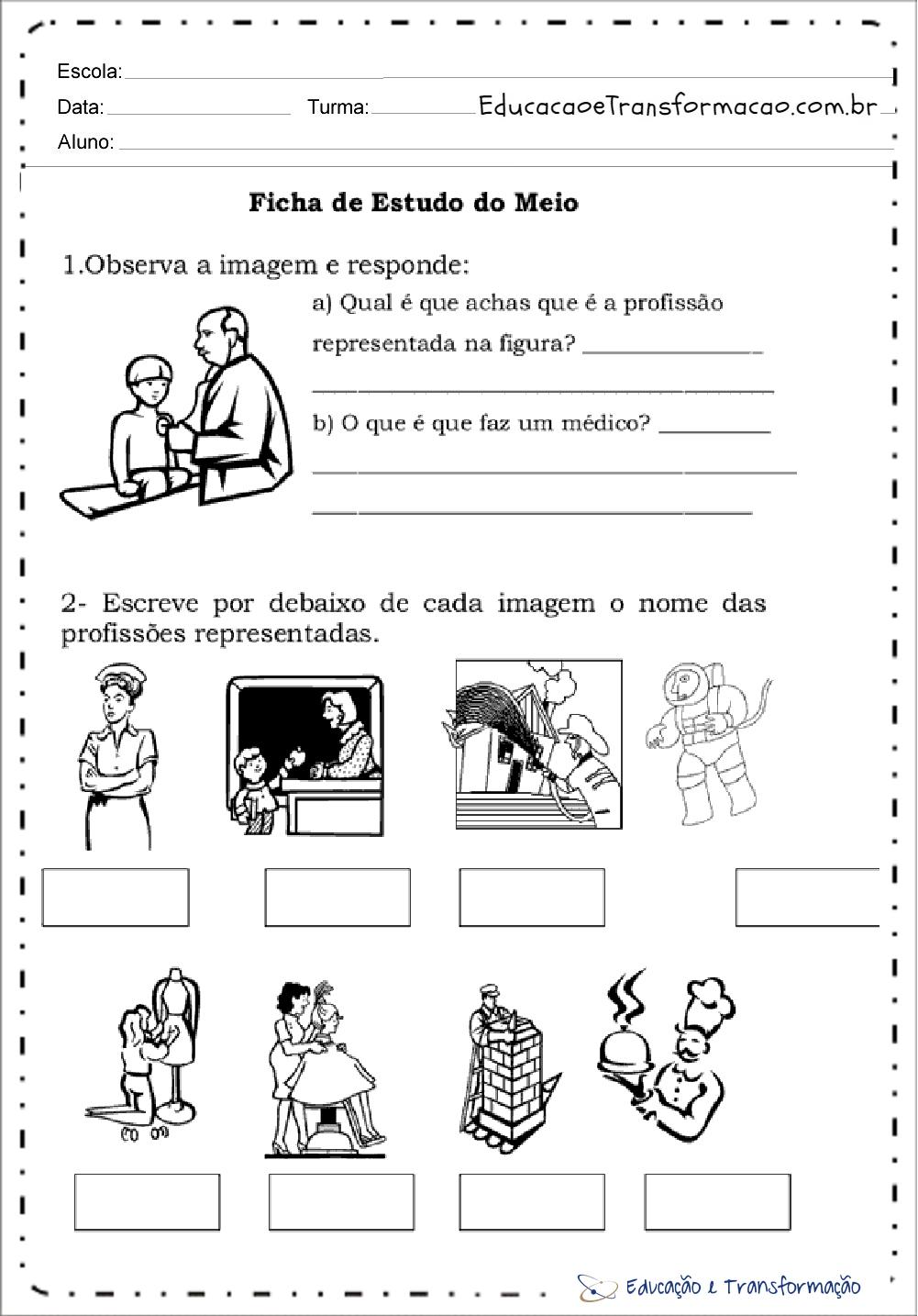 Atividades sobre profissões para Educação Infantil – Observe a imagem