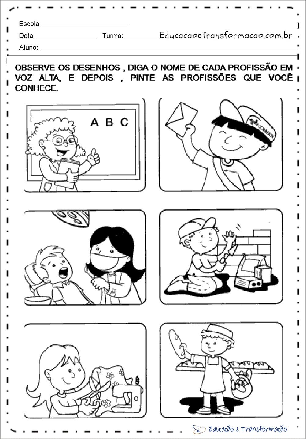 Atividades sobre profissões para Educação Infantil