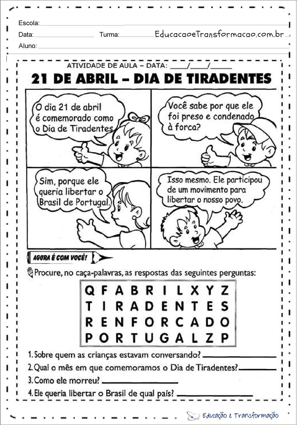 Atividades sobre Tiradentes - Caça Palavras