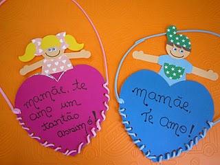 Lembrancinhas para dia das mães - Cartão de coração para menino e menina