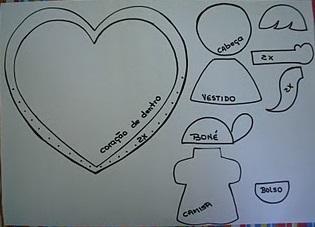 Moldes de Cartão Coração para o Dia das Mães