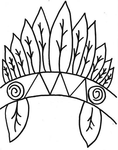 Moldes de Cocar de Índio para imprimir e colorir