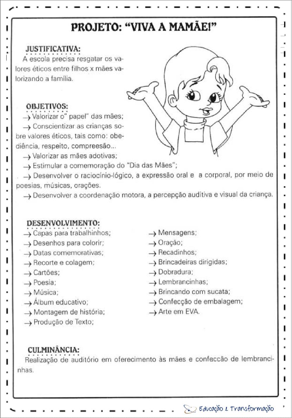 Excepcional Plano de Aula Dia das Mães para Educação Infantil e Ensino Fundamental UQ51