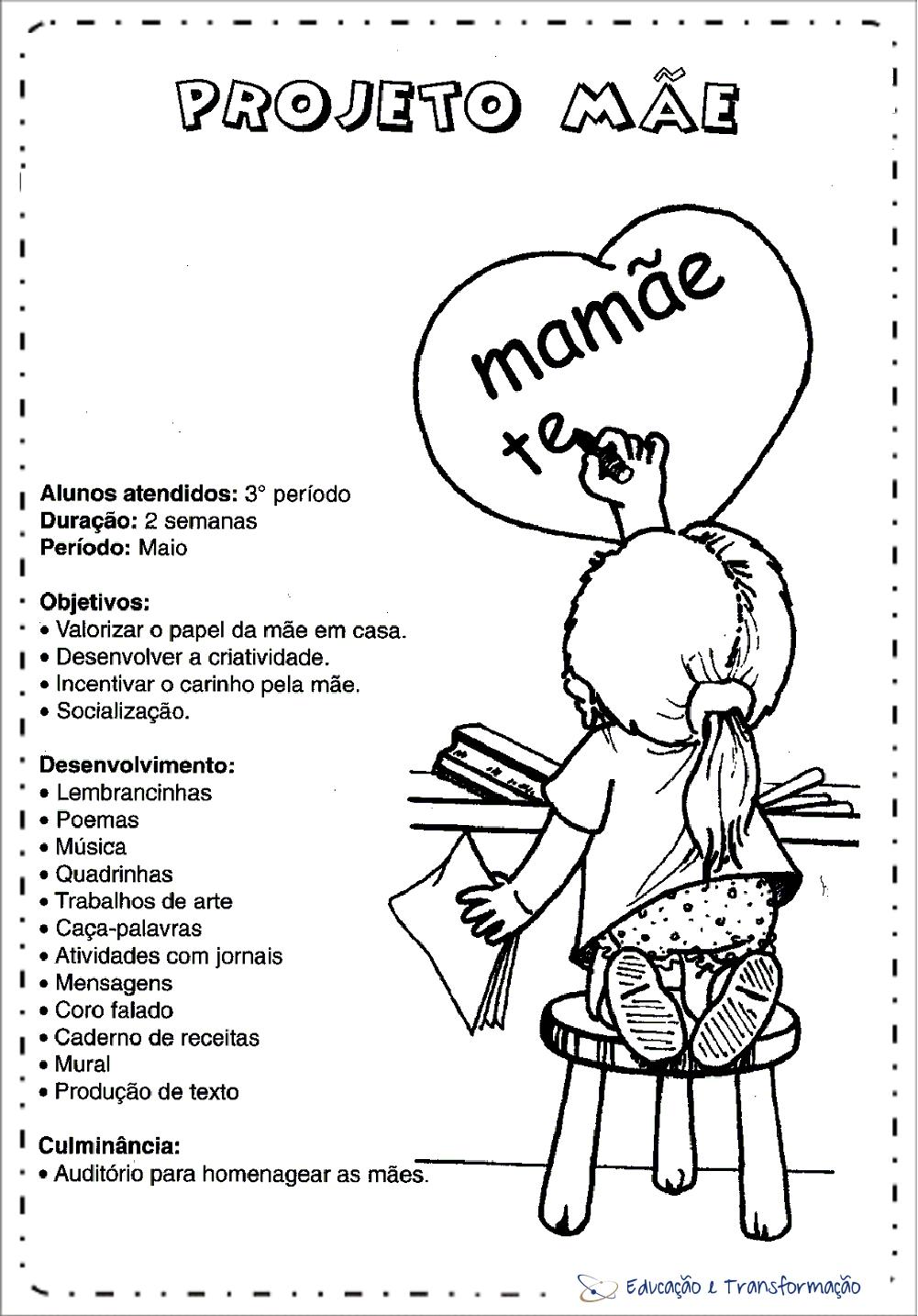 Projeto Dia das Mães Educação Infantil - Mamãe te amo para imprimir