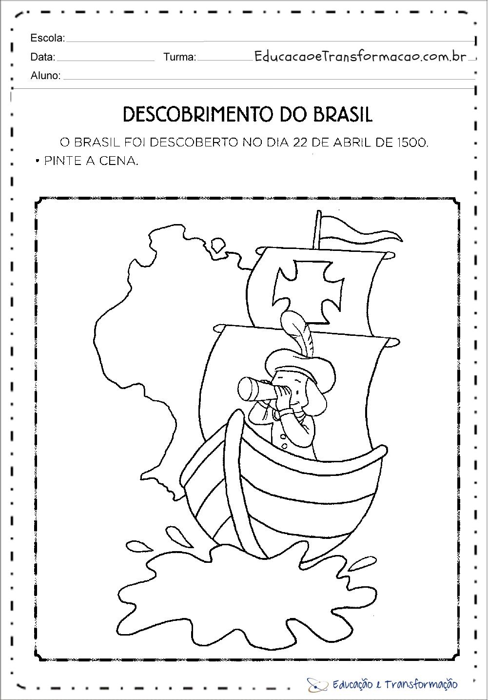 Quem descobriu o Brasil - Atividades para Colorir