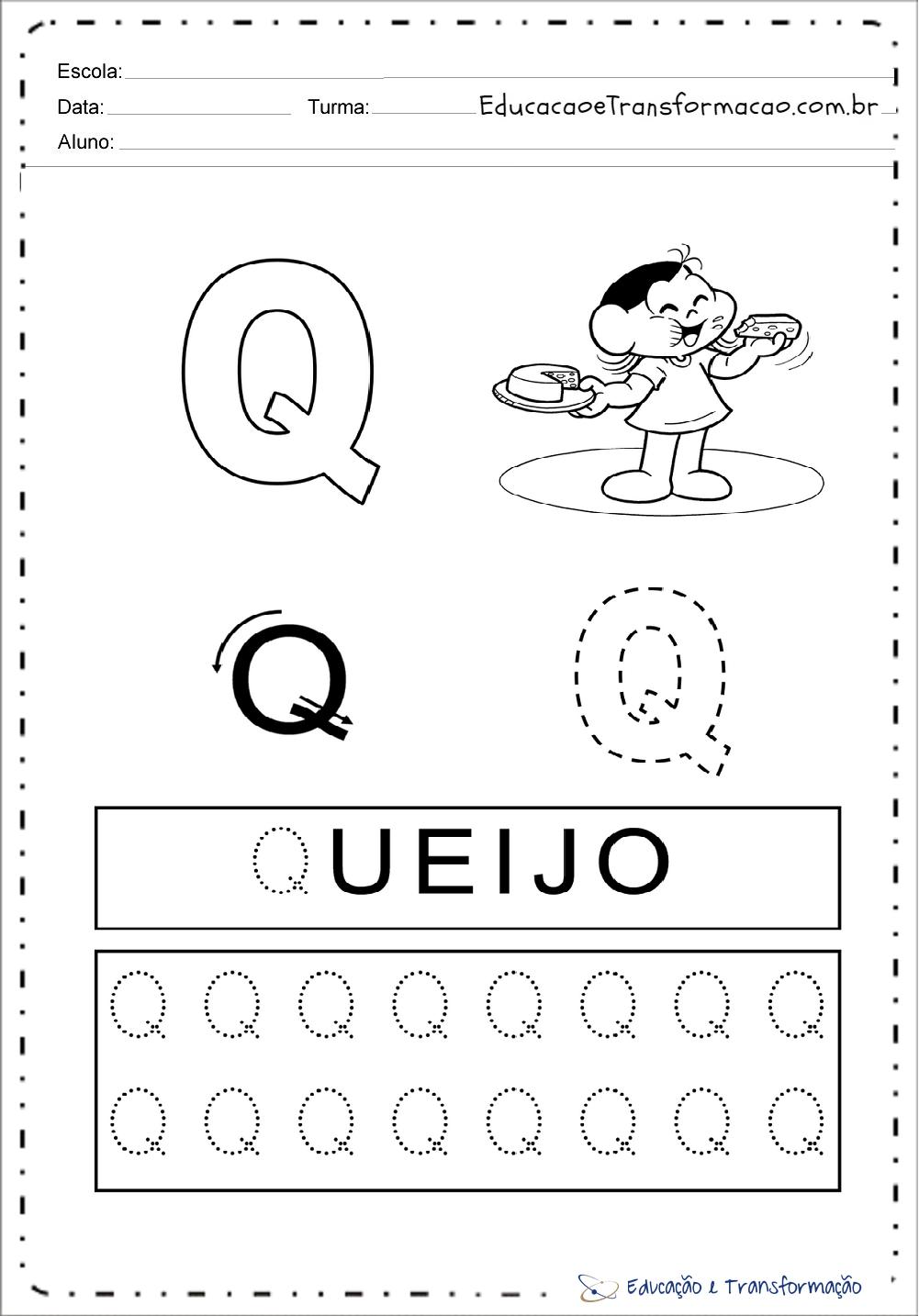 Atividades com a letra Q - Pontilhado (Tracejado)