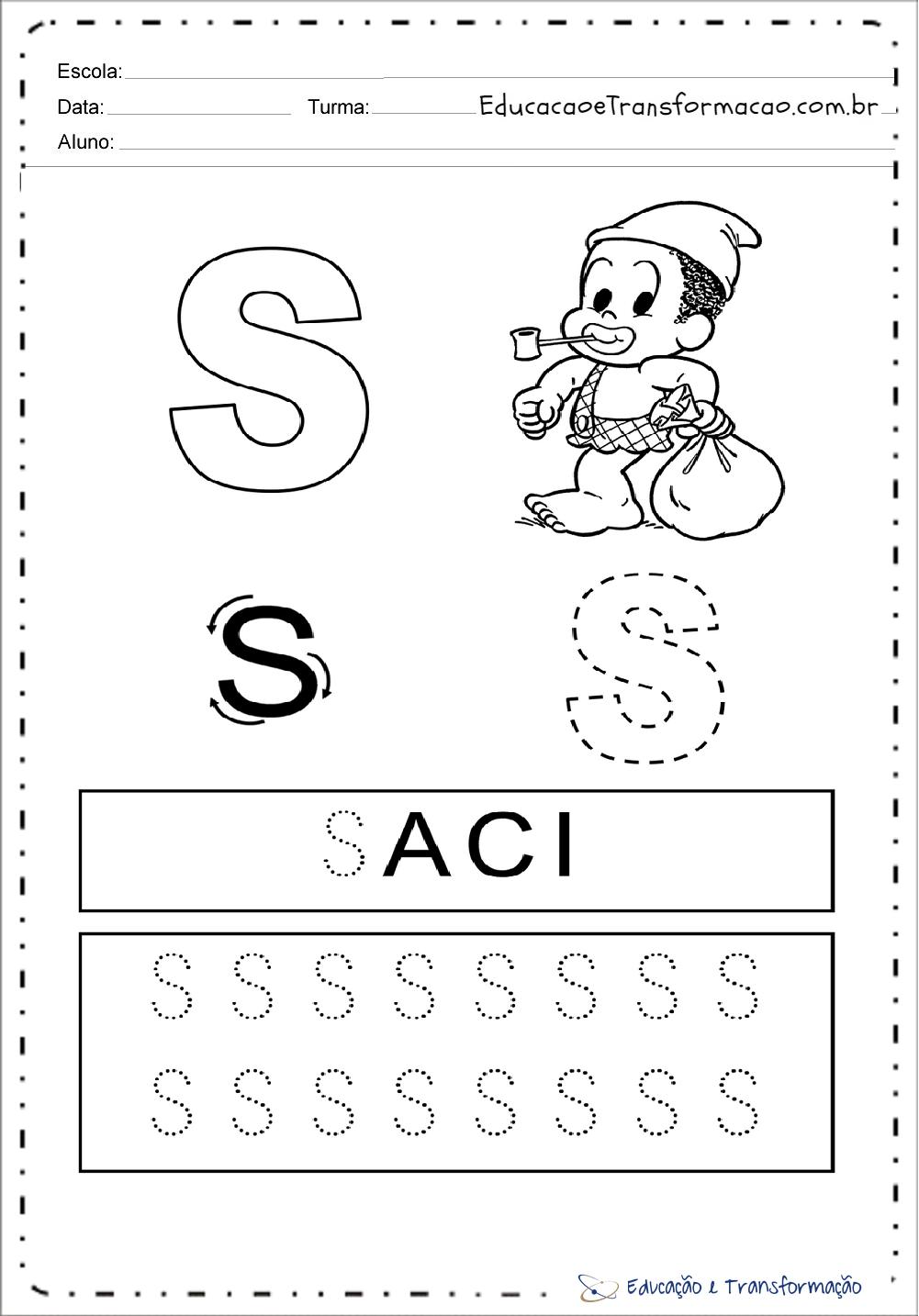 Atividades com a Letra S - Pontilhado (Tracejado)