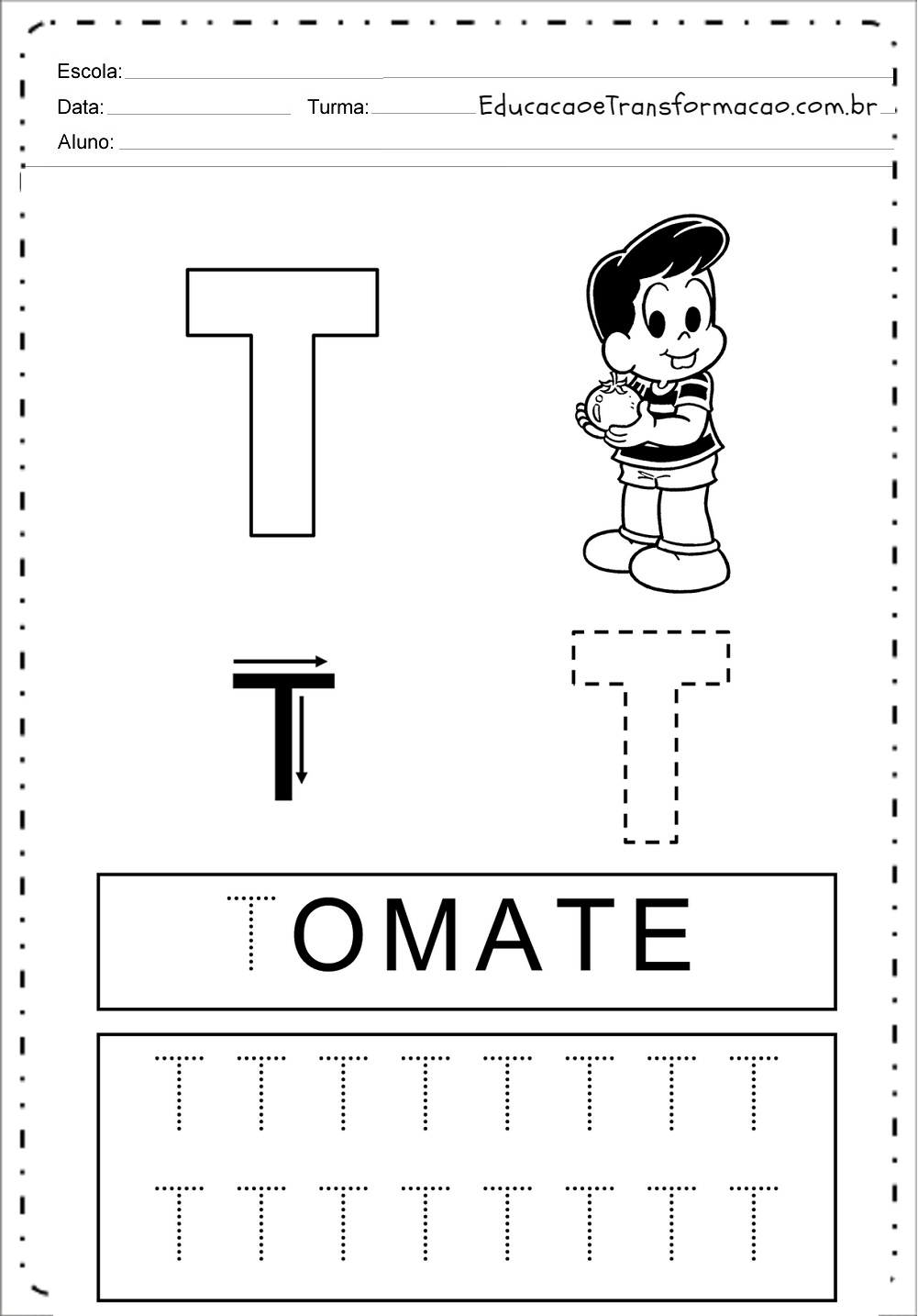 Atividades com a Letra T – Pontilhado (Tracejado)