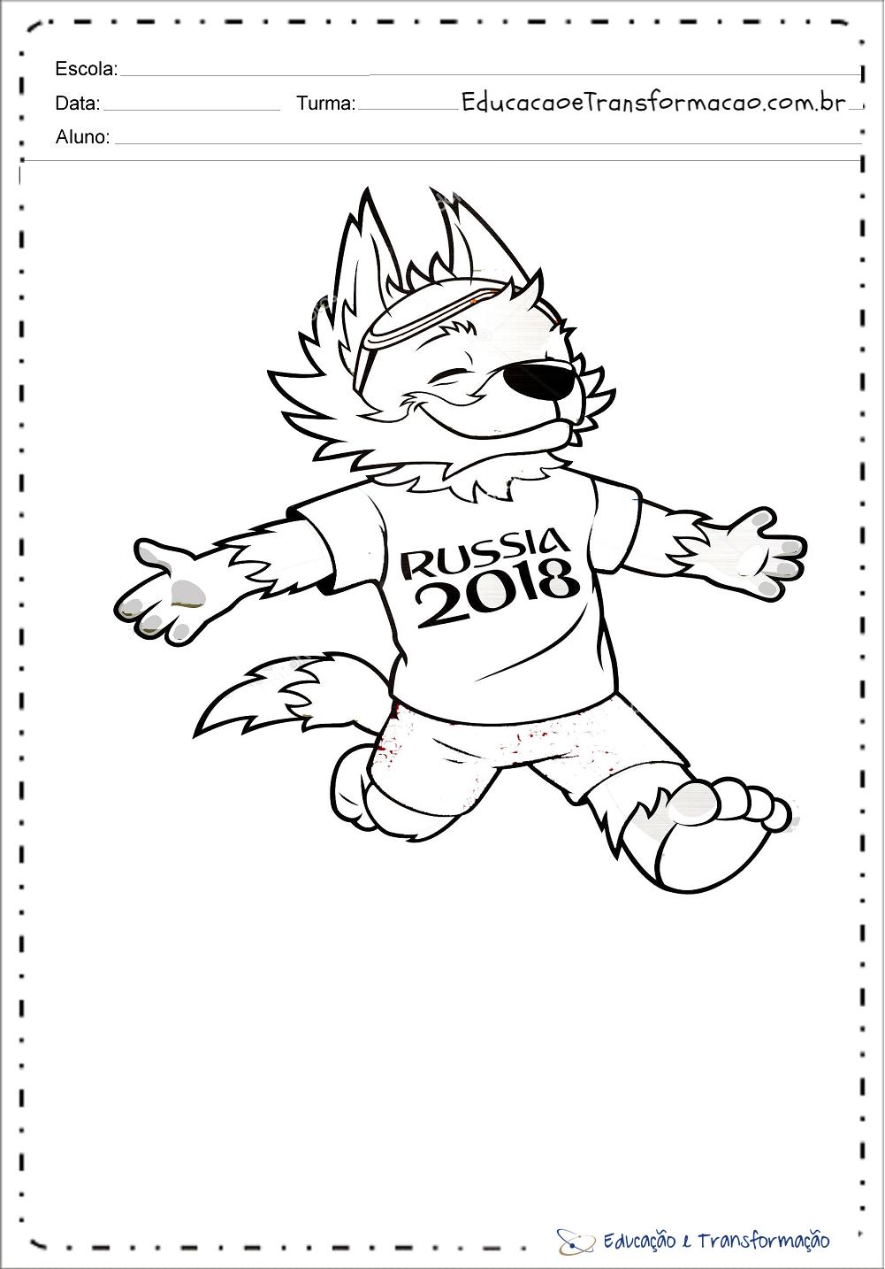 Desenhos para colorir Copa do Mundo 2018 – Mascote Russia