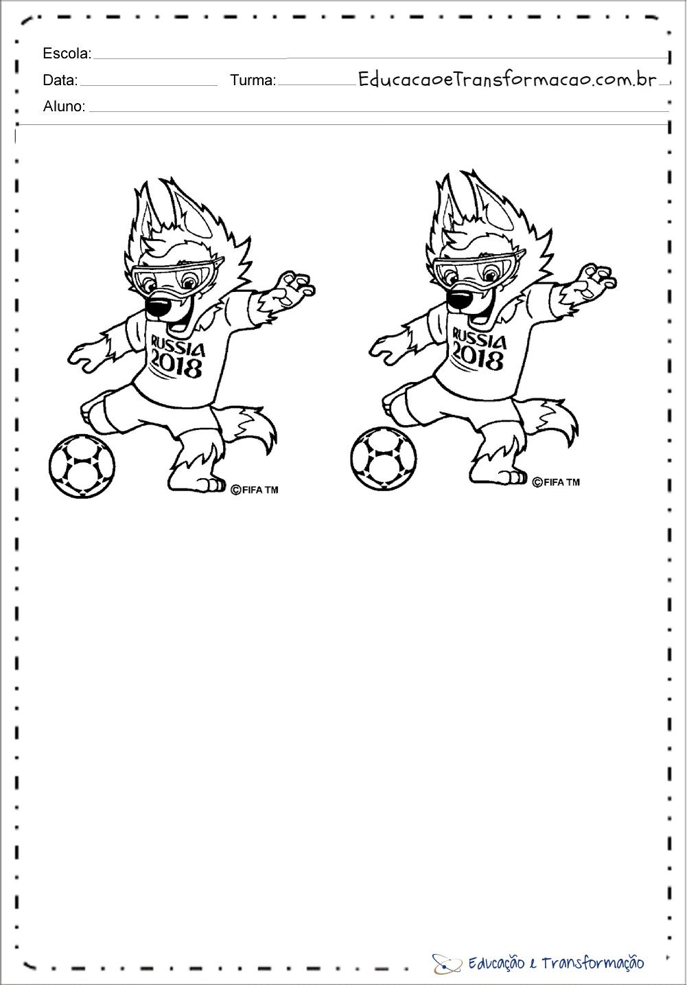 Desenhos para colorir Copa do Mundo 2018 – 2 Mascotes