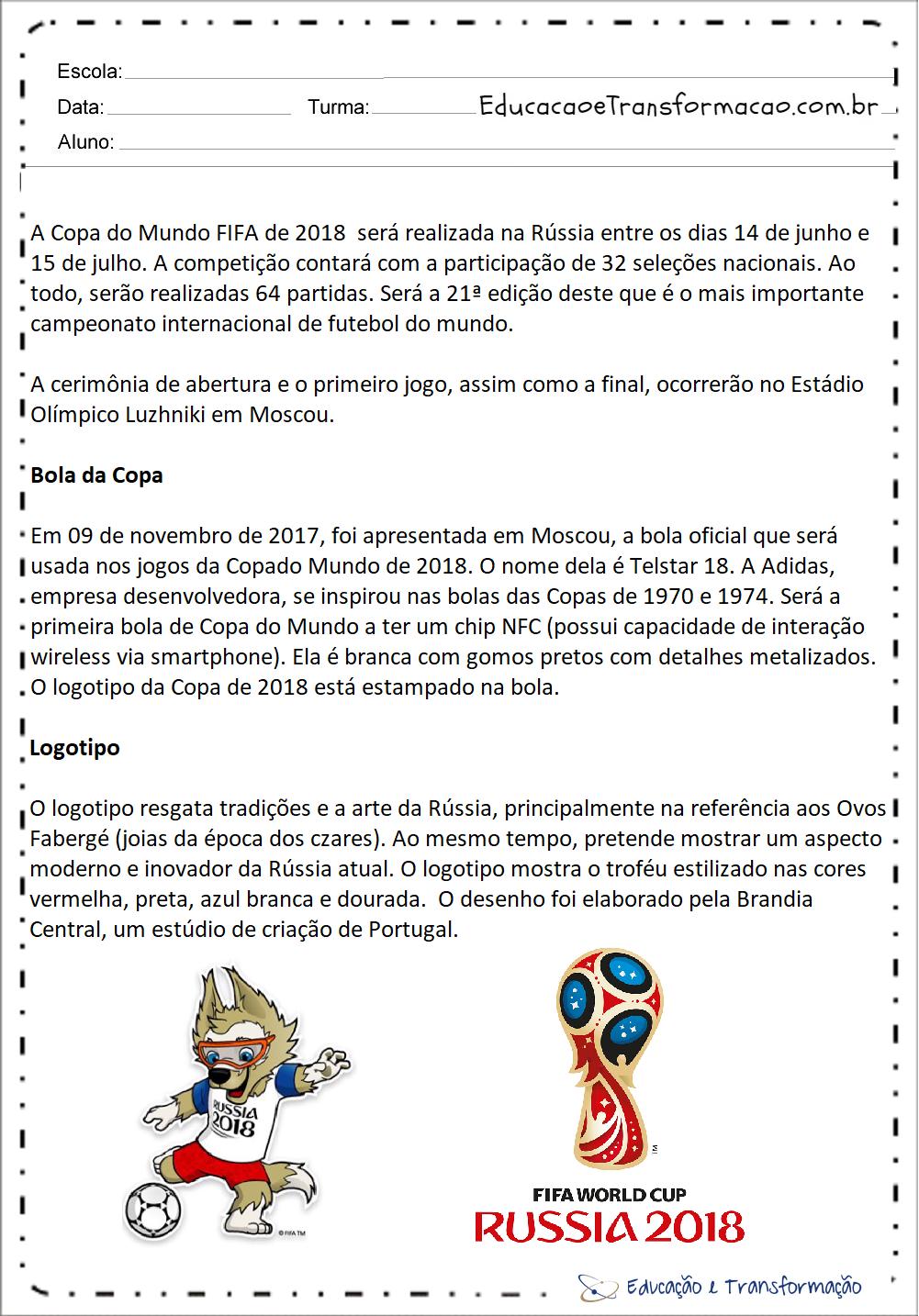 Atividades Copa do Mundo 2018