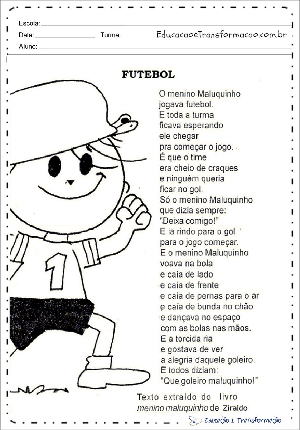 Atividades de Interpretação de Texto Copa do Mundo para imprimir