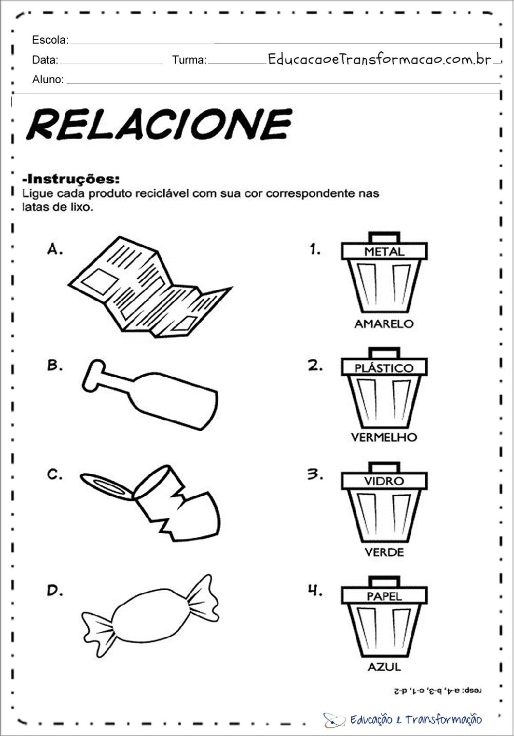 Atividades Meio Ambiente Educacao Infantil Relacione Educacao