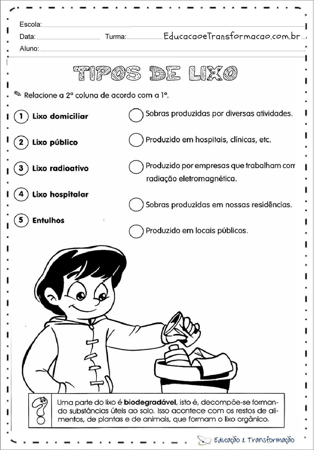Atividades Meio Ambiente Educacao Infantil Tipos De Lixo
